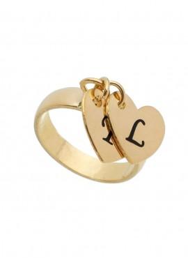Anel com 02 pingentes de coração com duas letras personalizadas gravadas
