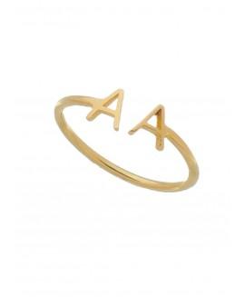 Anel de ajuste com duas letras personalizadas