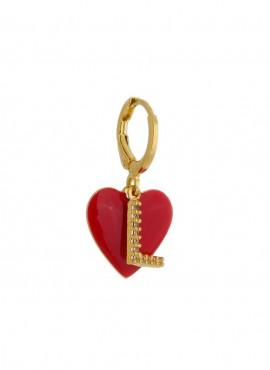 Brinco  com pingente de  coração vermelho e letra personalizada