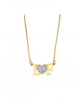 Colar  com pingente de duas letras personalizadas e coração prateado ao centro