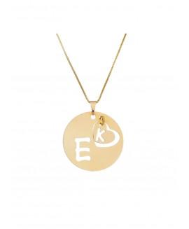 Colar  fino com pingente circular e duas letras personalizadas (2ª letra no coração)