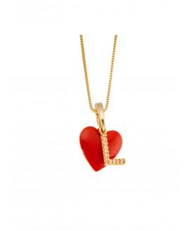 Colar  com pingente de coração vermelho e uma letra personalizada